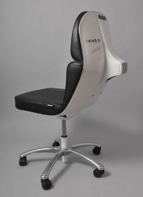 recycled vespa office chairs. black leather in metallic gray recycled vespa office chairs
