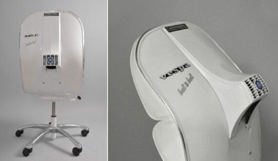recycled vespa office chairs. black leather upholstered version on white body recycled vespa office chairs