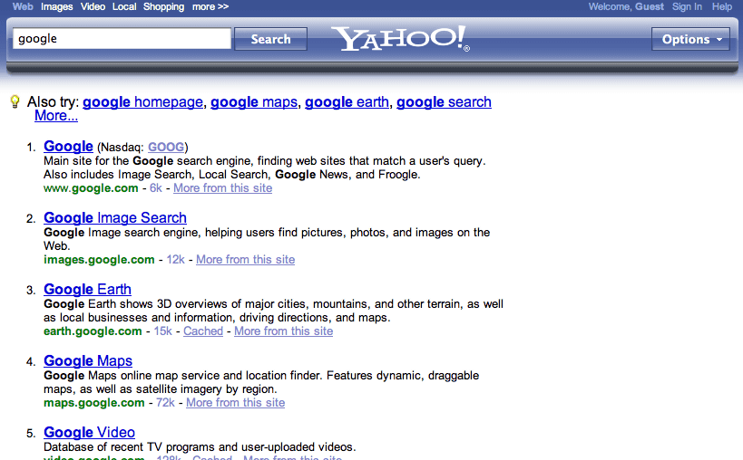Yahoo! Is displaying a new type of blue bar in the search