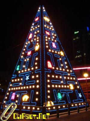 besides pacman and monsters christmas tree like decorations and fir trees are represented by led lights