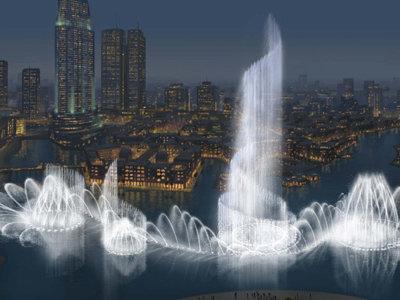 ドバイに50階のビルと同じ高さの噴水が建設される