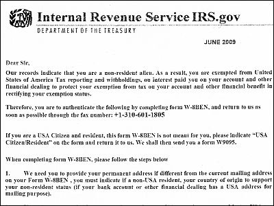 About The W 8 Ben Fraud Which Gives Fax By Name Of Irs Gigazine