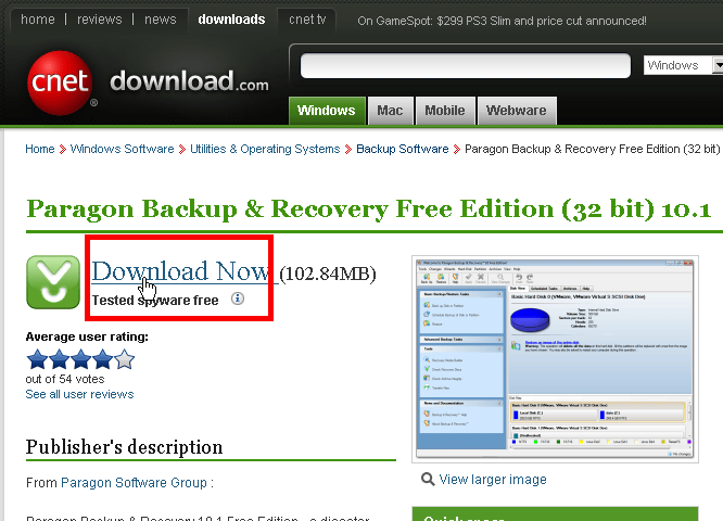 paragon backup recovery free edition free software that can not