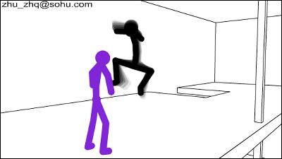 とても勝てそうにない強敵に追われる棒人間のイラスト Gigazine