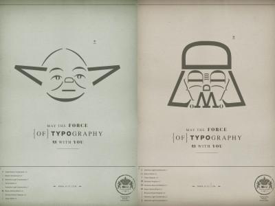 フォースも大事だけどフォントもね、と伝える文字だけで描かれたヨーダやダースベイダーのポスター , GIGAZINE