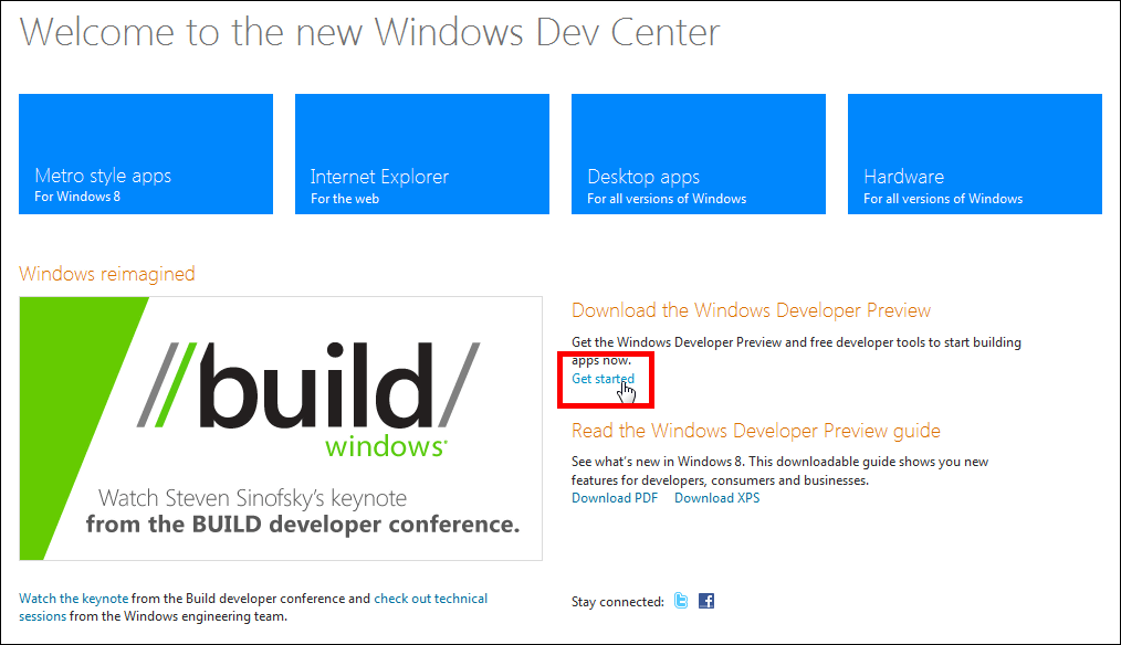 """Windows 8"""" preview version for developers free download available."""