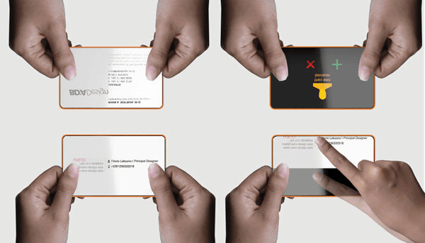 when searching for business cards also search initials of the others name scroll through the screen with your fingers - Electronic Business Card