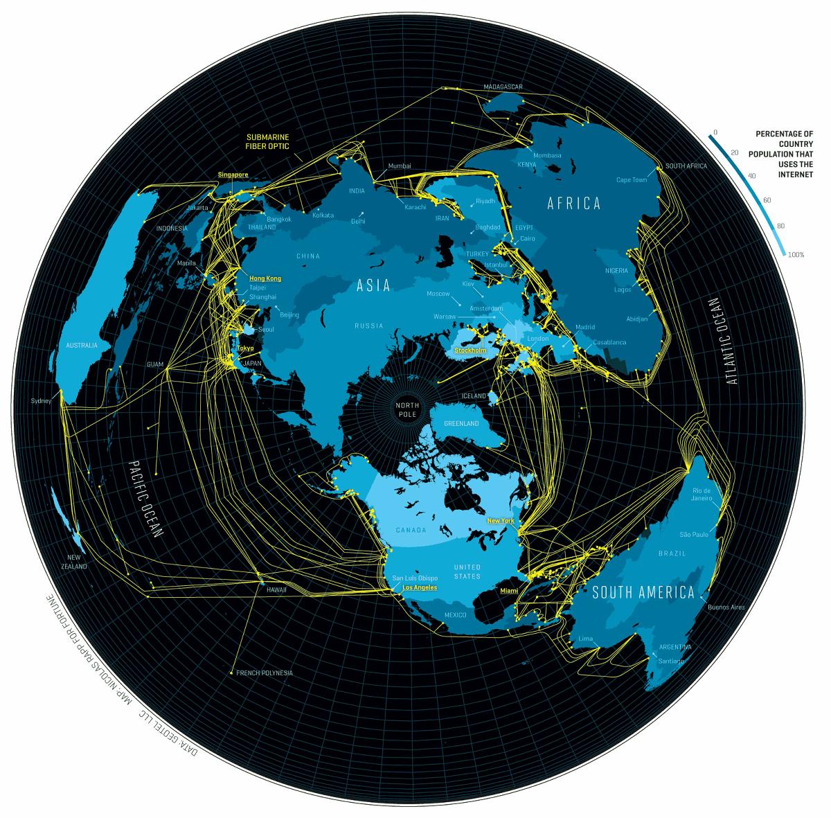 これが本当のインターネット、世界中に張り巡らされた海底ケーブルを地図上に表すとこうなる Gigazine
