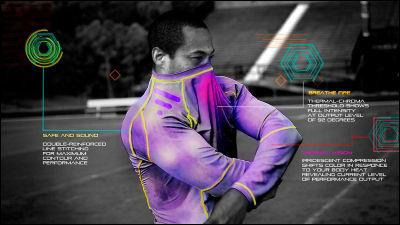 サーモグラフィーのように体温で色が変化し使用中の筋肉を可視化するシャツ「Radiate Athletics」