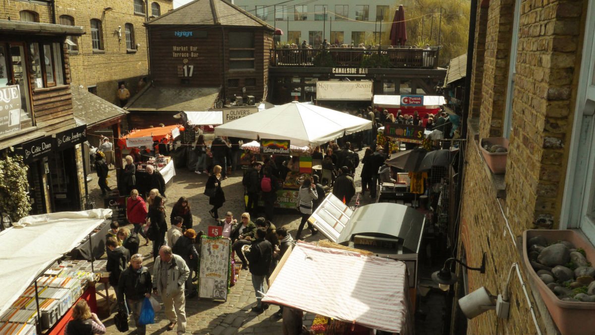 International food market in London where stalls all over