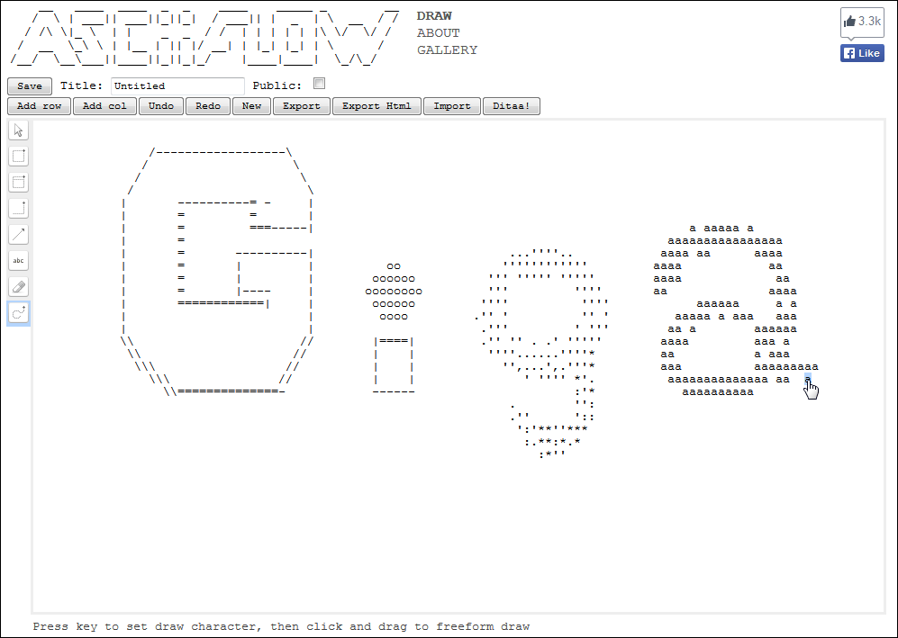 Asciiflow which can create a flow diagram with ascii art gigazine its just like moving the mouse like a paint tool so you can draw pictures and letters with sukutto ascii art ccuart Choice Image
