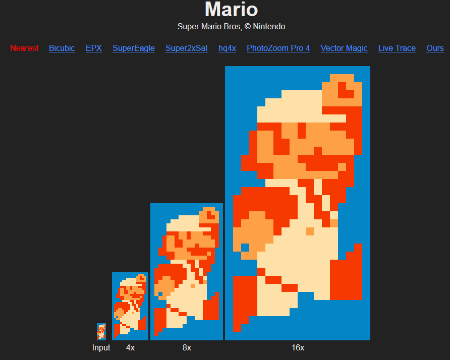 Depixelizing Pixel Art Which Can Easily Compare Algorithms