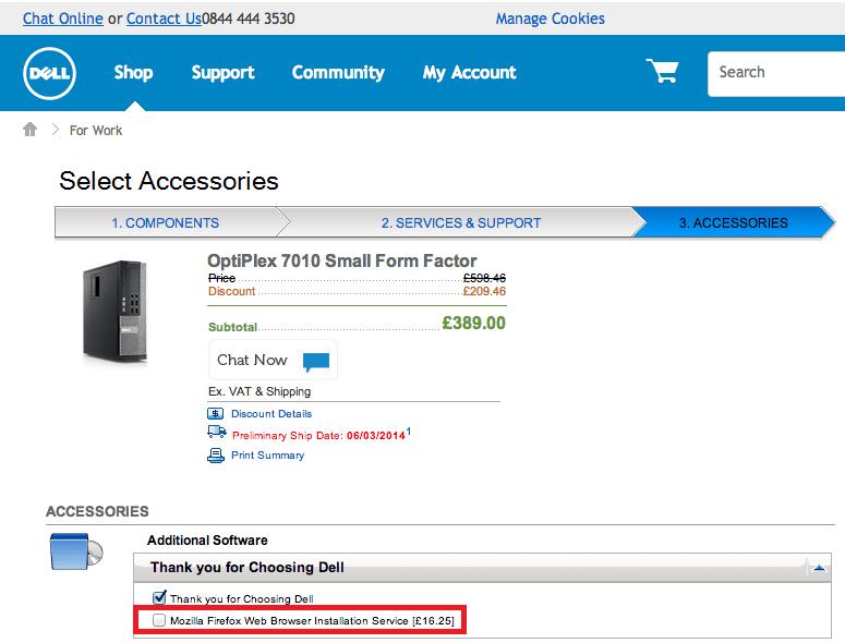 dellでpc購入時に 2800円でfirefoxをインストールする という