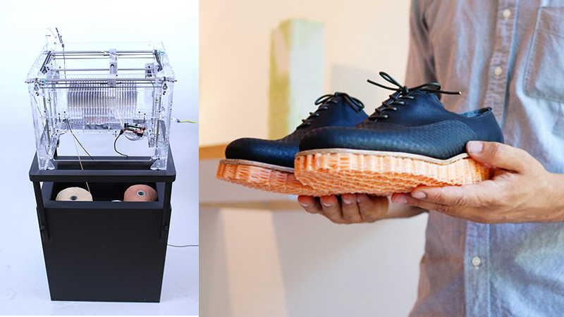 コットン・ウール・紙を3Dプリントして靴底を織り上げる「3D織り機」