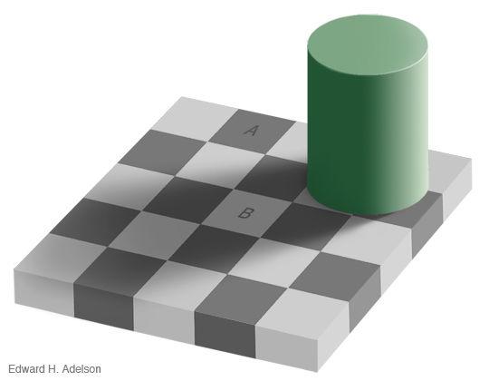 MITのEdward H.  Adelson氏が作ったチェック模様の板に影を作る円柱が置かれたオブジェクト。AとBのマスは全く同じ色なのですが、影の色によって錯覚してしまいます。