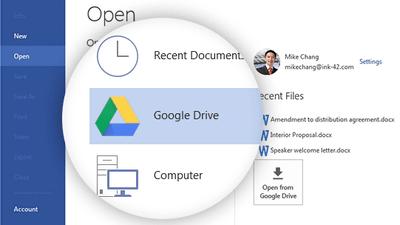 excel word powerpointにgoogle ドライブへ直接保存 共有などができる