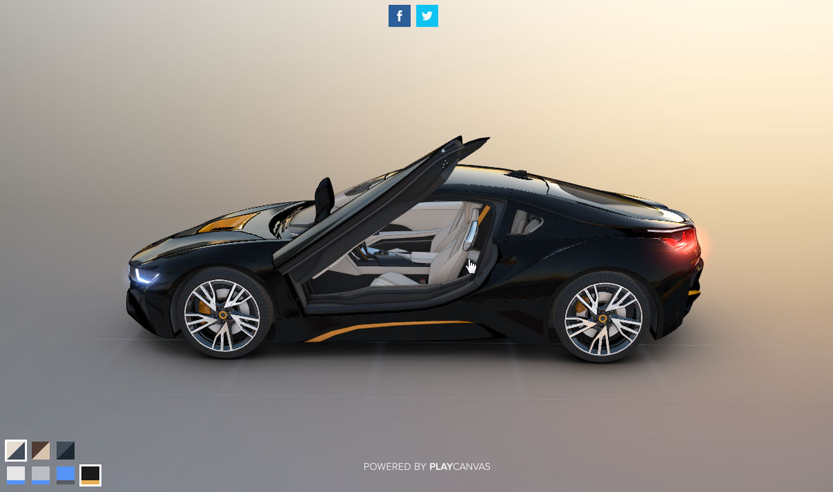 Html5 Webgl Moves The 3d Model Of Bmw I8 With The Browser