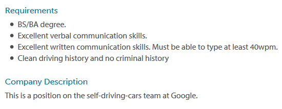 Google is looking for an automatic driving car test driver