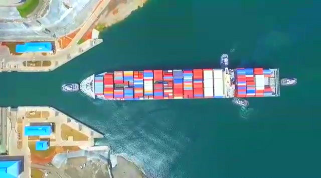 Movie aerial photograph of the moment when a huge container