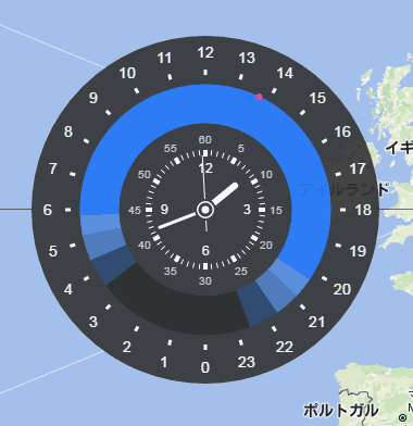 Google chromozone shows you the current time around the world on it is a clock that shows three day clock on the inside day and night coloring on the outside and one day 24 hours in one lap gumiabroncs Gallery