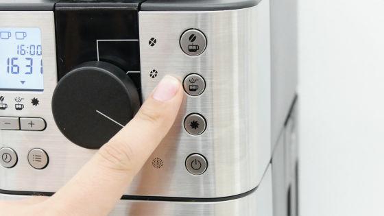 豆から挽けるコーヒーメーカーのインターフェイス
