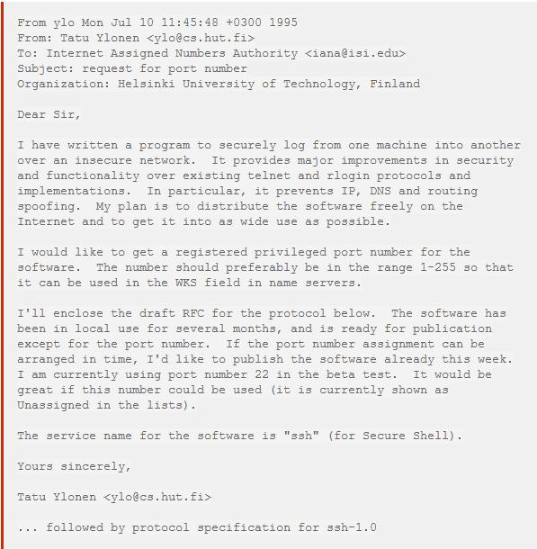 sshのポート番号が 22 に決まった経緯を開発者のtatu ylonen氏が公開