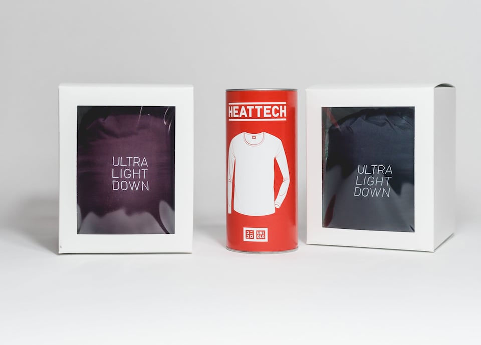 94abc26447a75 The Ultra Down jacket can be placed in a small paper box, and the Heat Tech  shirt can be put in a can.