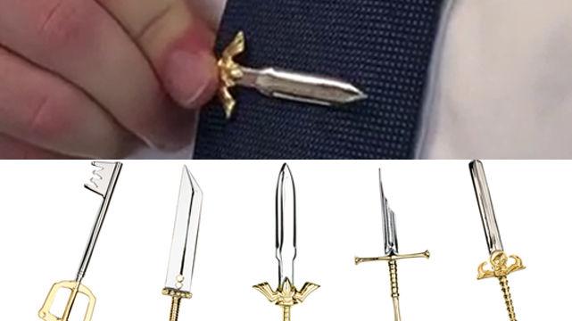 「ゼルダの伝説」「指輪物語」「FF7」などゲーム・映画の「剣」にインスパイアされた剣型ネクタイピン「Sword Clips」