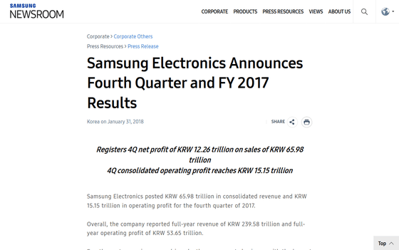 Samsung records the highest ever sales of over 7 trillion yen in the