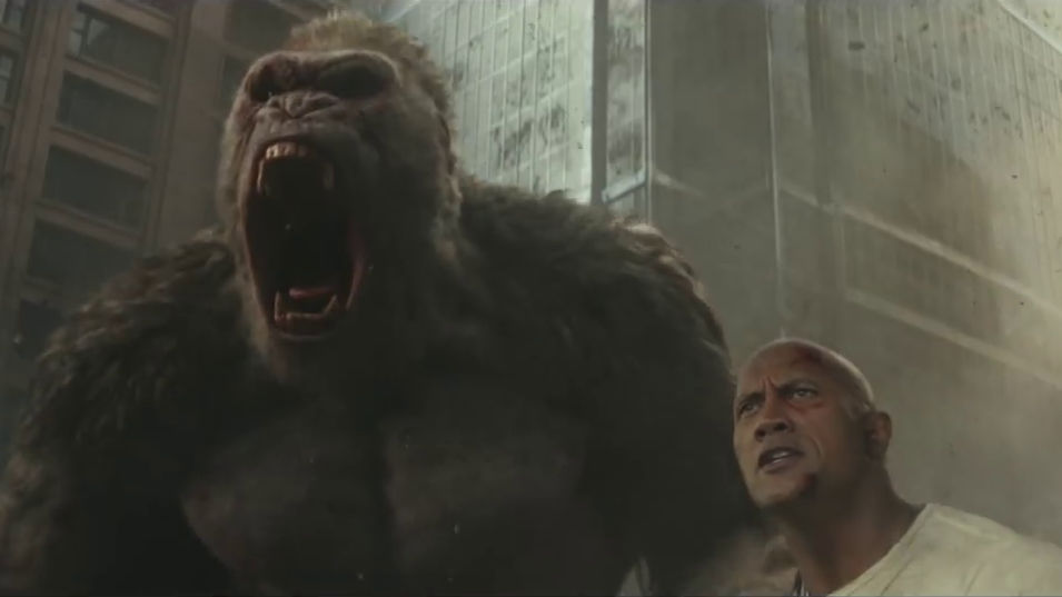 Movie Rampage Trailer 2 Dwaine Johnson And Gorilla Fighting