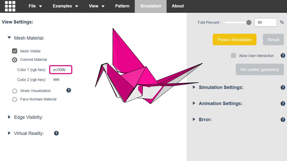 現実には不可能なレベルで複雑な折り紙を3Dモデルで簡単にシミュレートできるウェブアプリ「Origami Simulator」