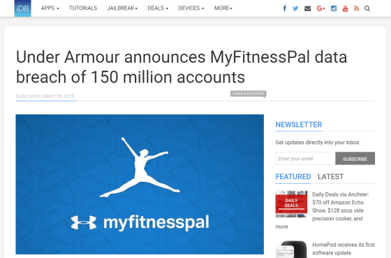 About 150 million user account information of MyFitnessPal