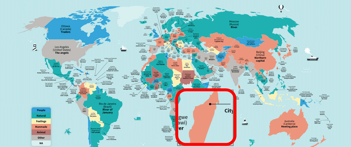 A map showing what the origin of the city name of the world is