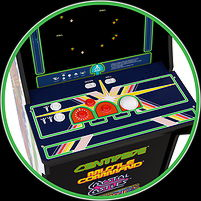 A home arcade game machine 'Arcade 1 Up' with a height of