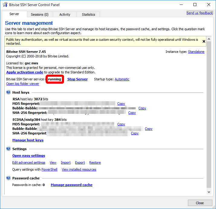 I tried using SSH server 'Bitvise SSH Server' for Windows which can