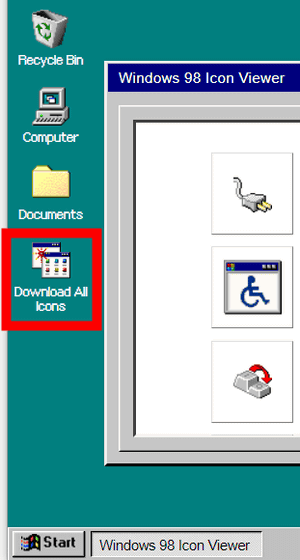 Windows 98 Icon Viewer' capable of downloading Windows 98