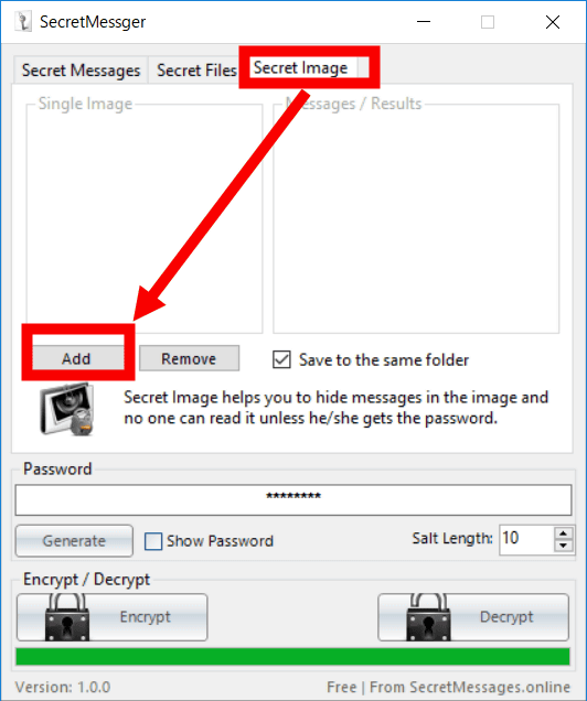 Secret Messager' which can hide secret messages in images