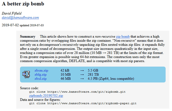 Non-recursive ZIP bomb' swells 10 MB of files to 281 TB - GIGAZINE