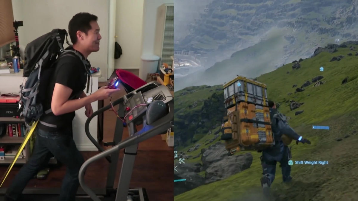 Photo of A fierce man who has fused the PS4 controller and the running machine so that he can actually walk and run and play Death Stranding appears
