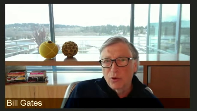 """Photo of Bill Gates says, """"Are we ready for a pandemic?"""""""